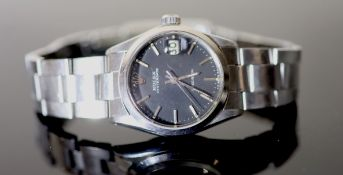 A gentleman's early 1970's stainless steel Rolex Oysterdate boy's? size wrist watch, with black dial