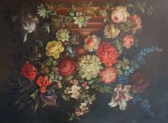 17th century Dutch styleoil on canvasStill life of flowers in an urn upon pedestal29.5 x 39.5in.