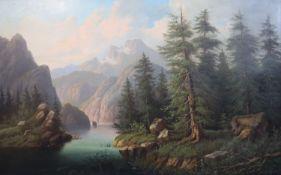 Edouard Boehm (1830-1896)oil on canvasBoatman in an alpine river landscape26 x 41in.CONDITION: Oil