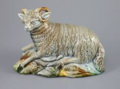 A Ralph Wood the Younger polychrome pottery figure of a Ram, c.1780-90, on a hollow naturalistic
