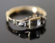 An early George II gold, rock crystal rose cut diamond and black enamel memento mori ring, the
