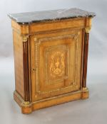 A 19th century French ormolu mounted, walnut and marquetry Meuble d'appoint, with purple and red