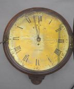 Thomas Andrews of Dover. A George III mahogany wall timepiece, with black enamelled brass dial,
