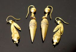 Two pairs of Victorian gold teardrop shaped drop earrings, 42mm and 52mm, gross 12.1 grams.