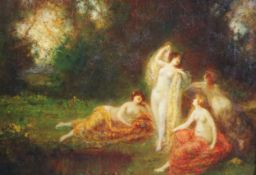 François Maury (French 1861-1933)oil on canvasSymbolist woodland scene with nudessigned10.75 x