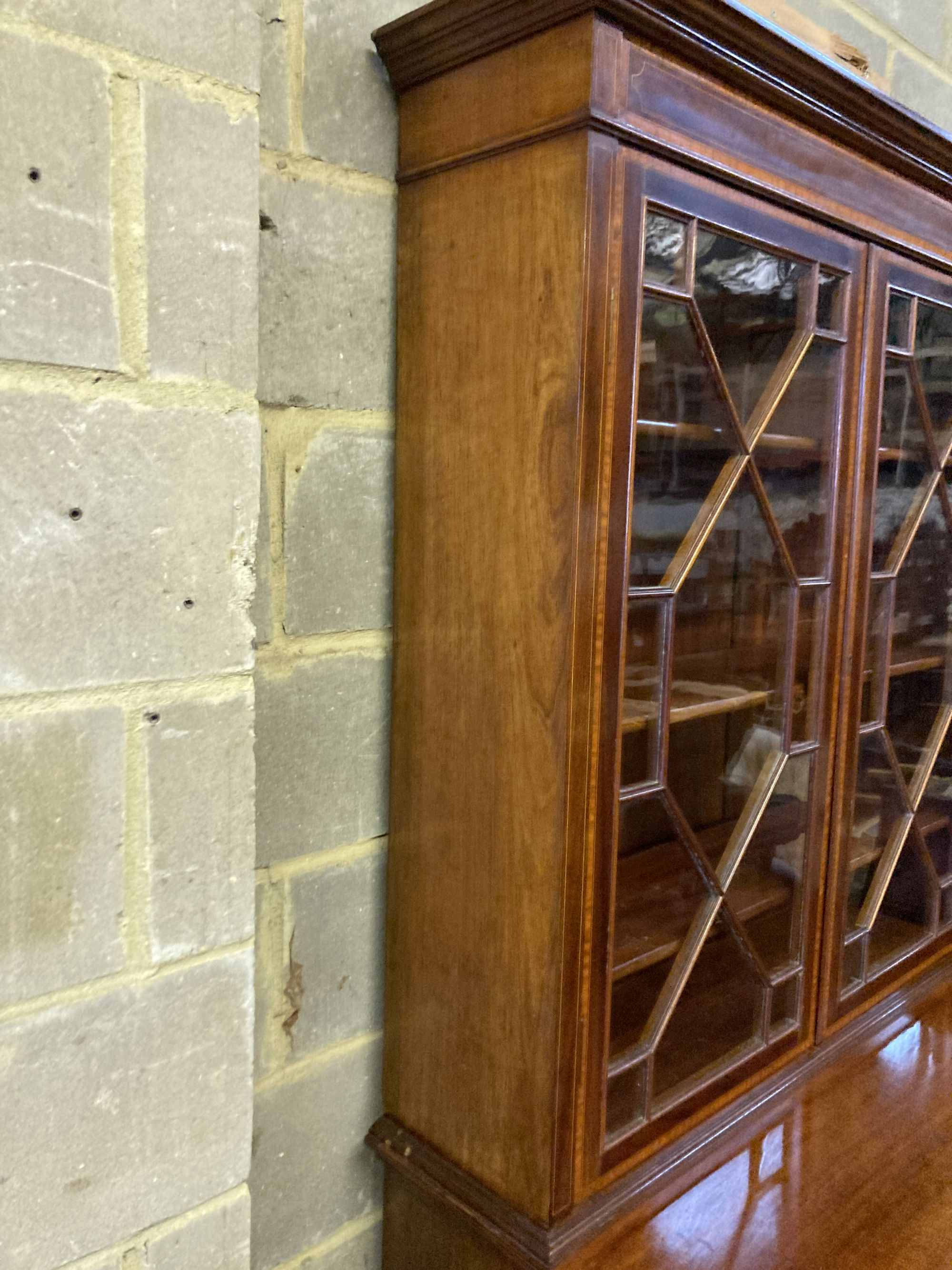 An Edwardian mahogany W&G (?) inlaid secretaire bookcase, width 107cm, depth 54cm, height - Image 3 of 4
