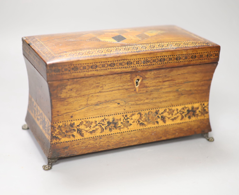 A Regency rosewood and Tunbridge ware inlaid tea caddy, length 22cm (locked)