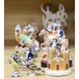 A collection of assorted Staffordshire figures and sundry ceramics including early 19th century