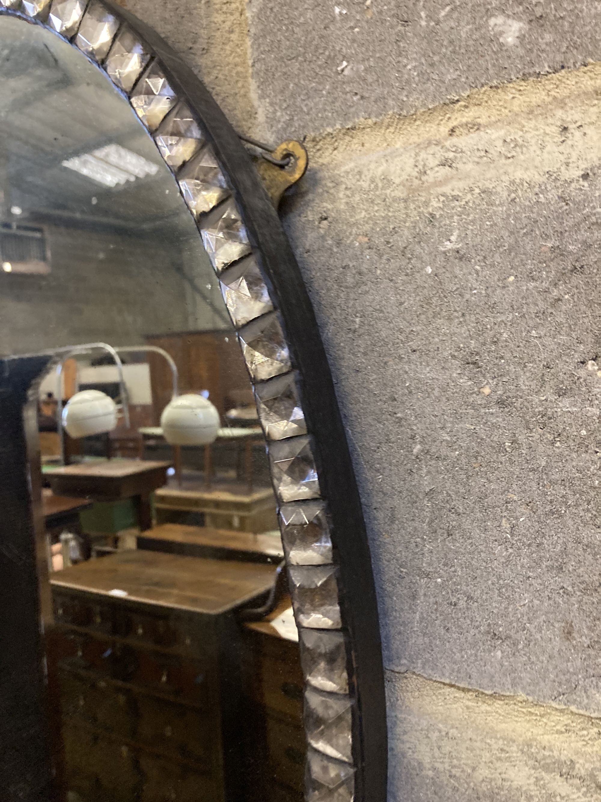 An Irish style oval wall mirror, width 58cm, height 76cm - Image 4 of 4