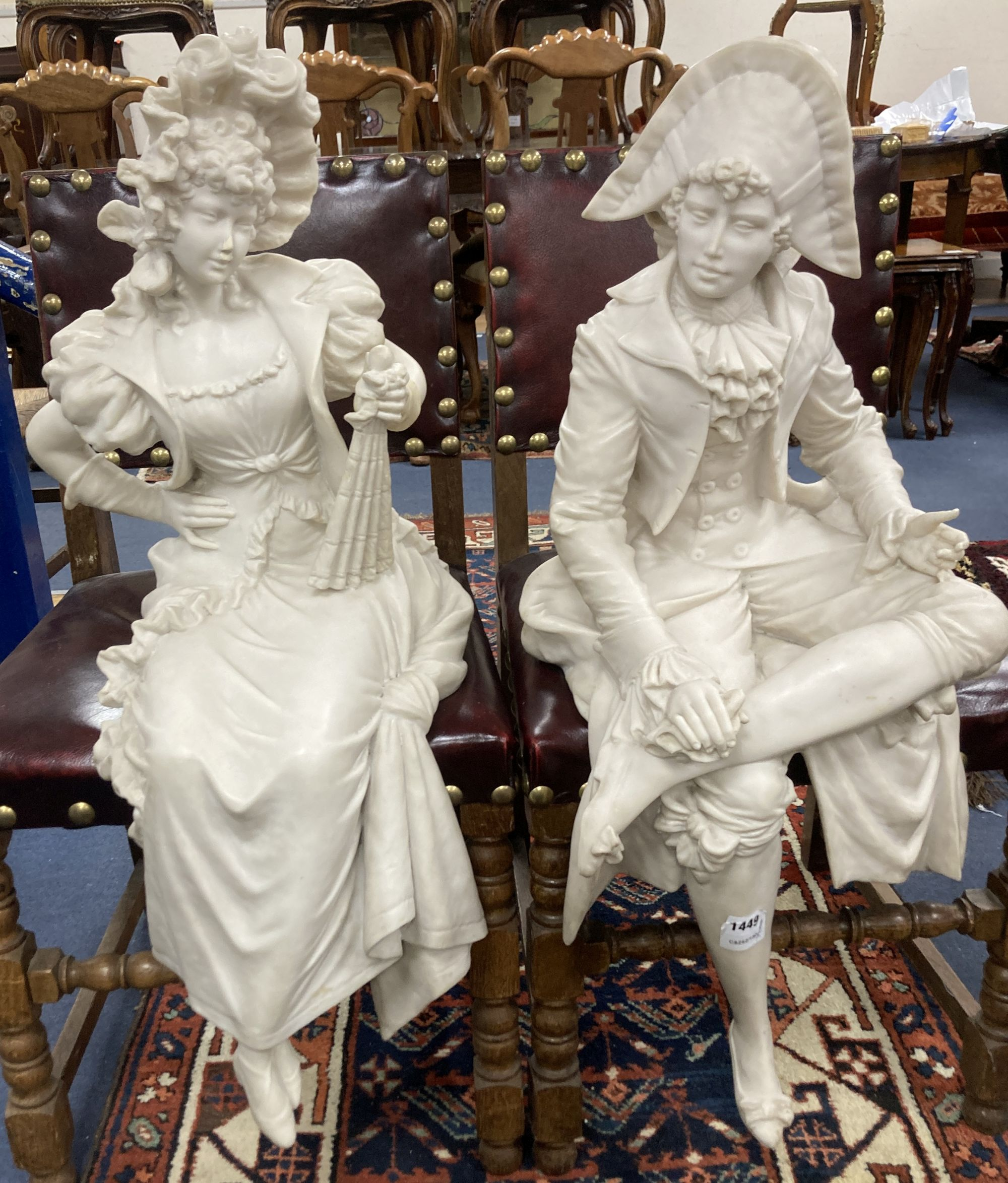 A pair of resin marble seated figures of a Dandy and a Dandizette on ebonised plinths - Image 7 of 7