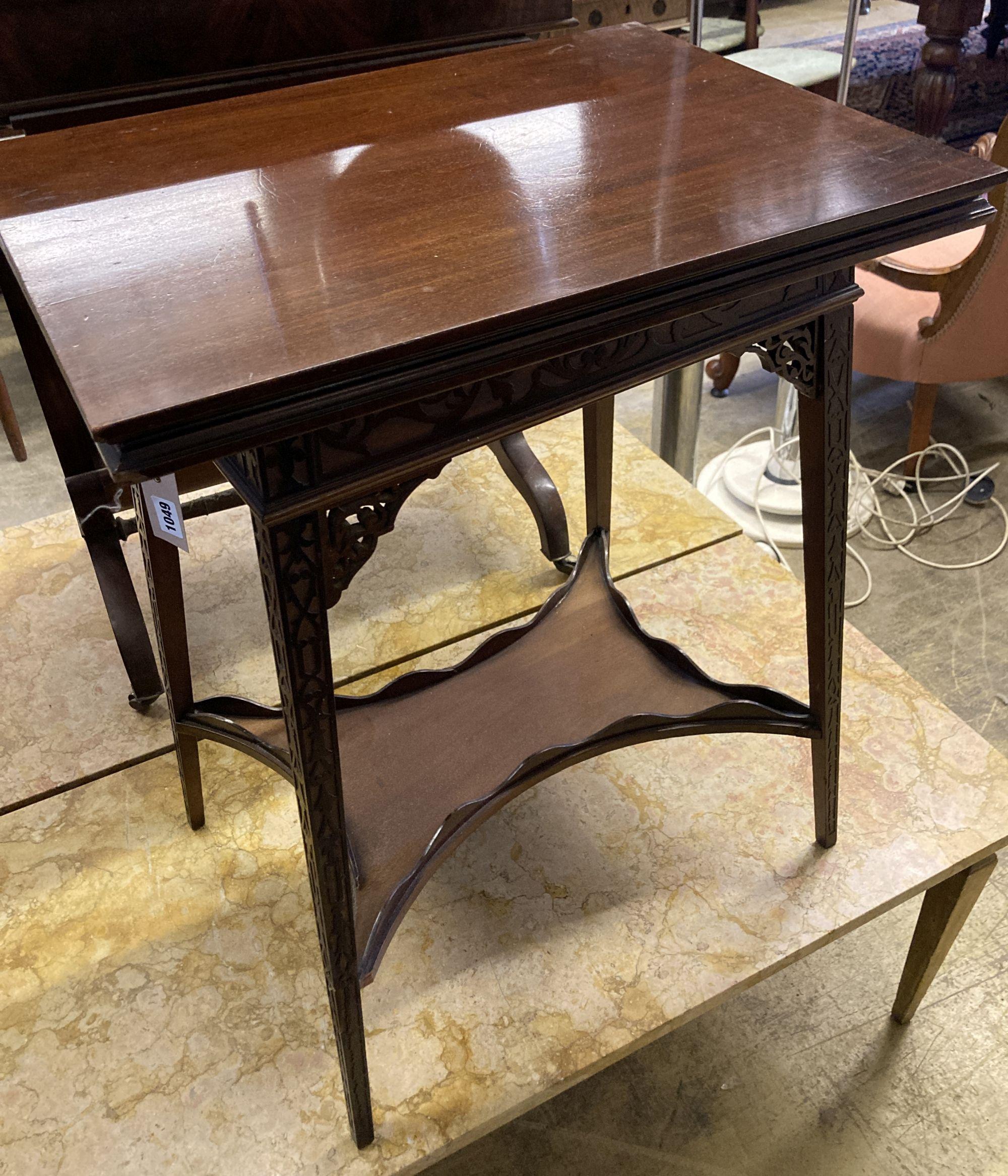 A late Victorian mahogany blind fret folding tea table, width 50cm, depth 38cm, height 65cm