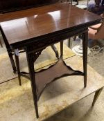 A late Victorian mahogany blind fret folding tea table, width 50cm, depth 38cm, height 65cm
