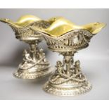 A good ornate pair of late 19th/early 20th century German pierced 800 standard white metal