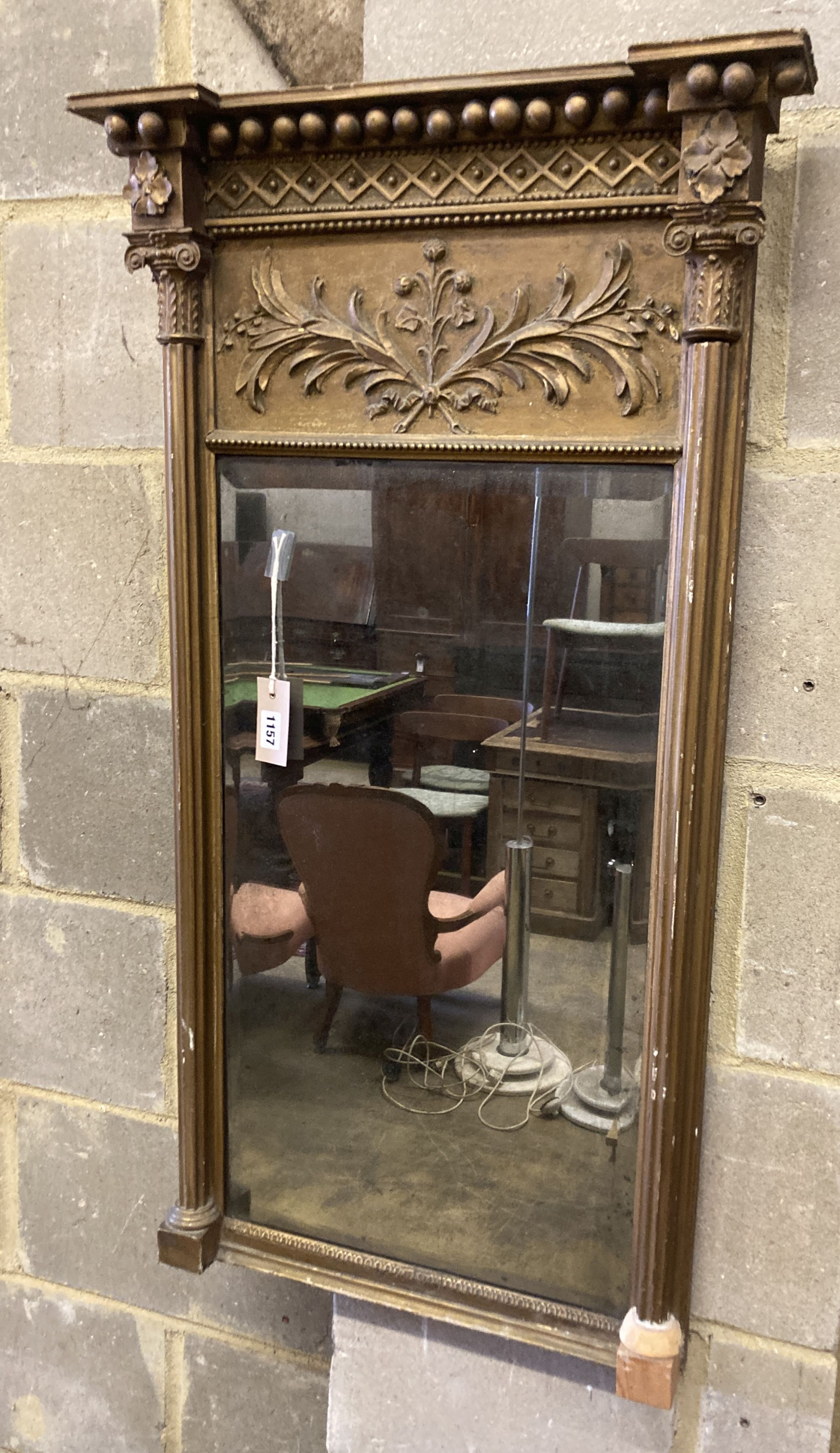 A Regency giltwood and gesso pier glass, width 52cm height 97cm