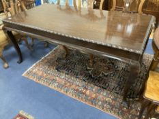 A George III style mahogany rectangular topped dining table, length 188cm, depth 94cm, height 78cm