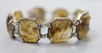 A 20th century white metal and facetted agate set bracelet, approx. 18cm, gross 37.2 grams.