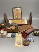 A group of Chinese and Japanese objects, 19th/20th century, including an inscribed ink box an