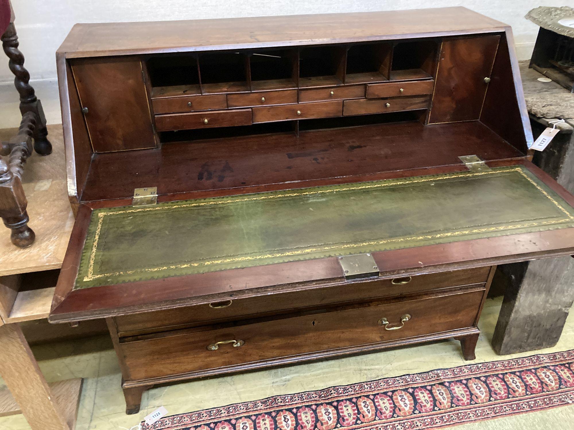 A George III mahogany bureau, width 117cm depth 51cm height 117cm - Image 2 of 3