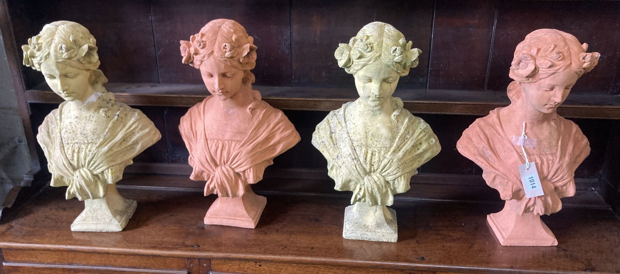 Two pairs of terracotta and reconstituted stone busts of ladies (4), height 46cm
