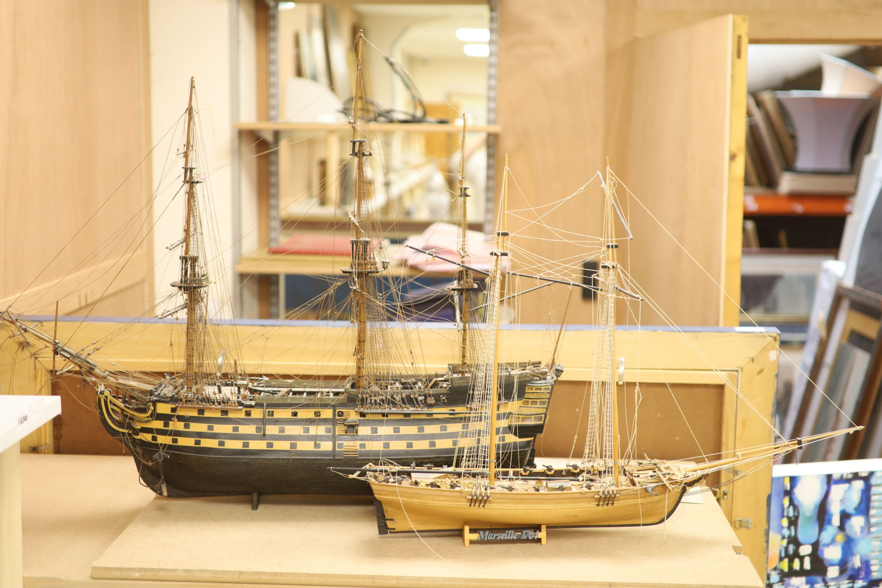 A model of 'The Victory', width 90cm, and a model of 'The Marseille'