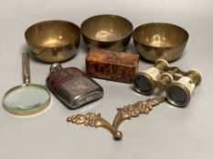 A pair of mother of pearl opera glasses, plated toddy etc
