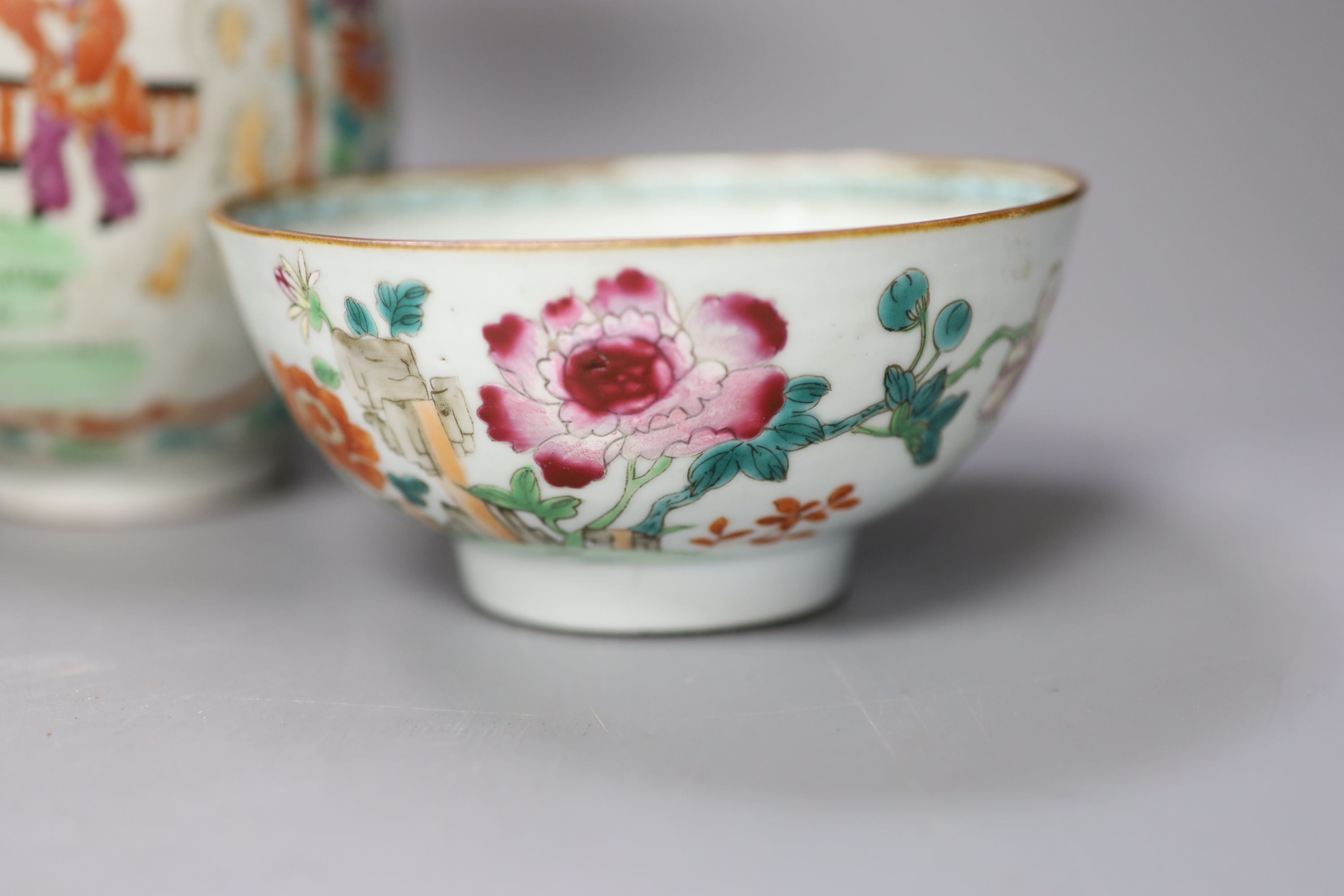 An 18th century Chinese famille rose bowl, a Japanese porcelain vase and and invalid cup, tallest - Image 3 of 7