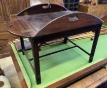 A Victorian mahogany folding butler's tray, width 90cm depth 78cm, on later stand