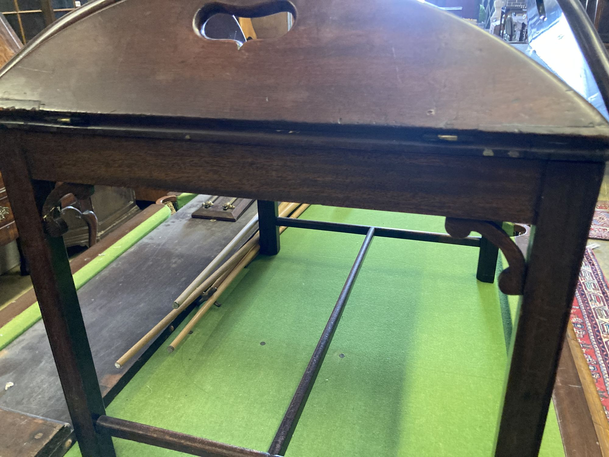 A Victorian mahogany folding butler's tray, width 90cm depth 78cm, on later stand - Image 3 of 3