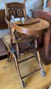 A late Victorian metamorphic child's high chair