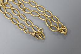 An 18ct gold oval link albert, 40cm, 42.1 grams.
