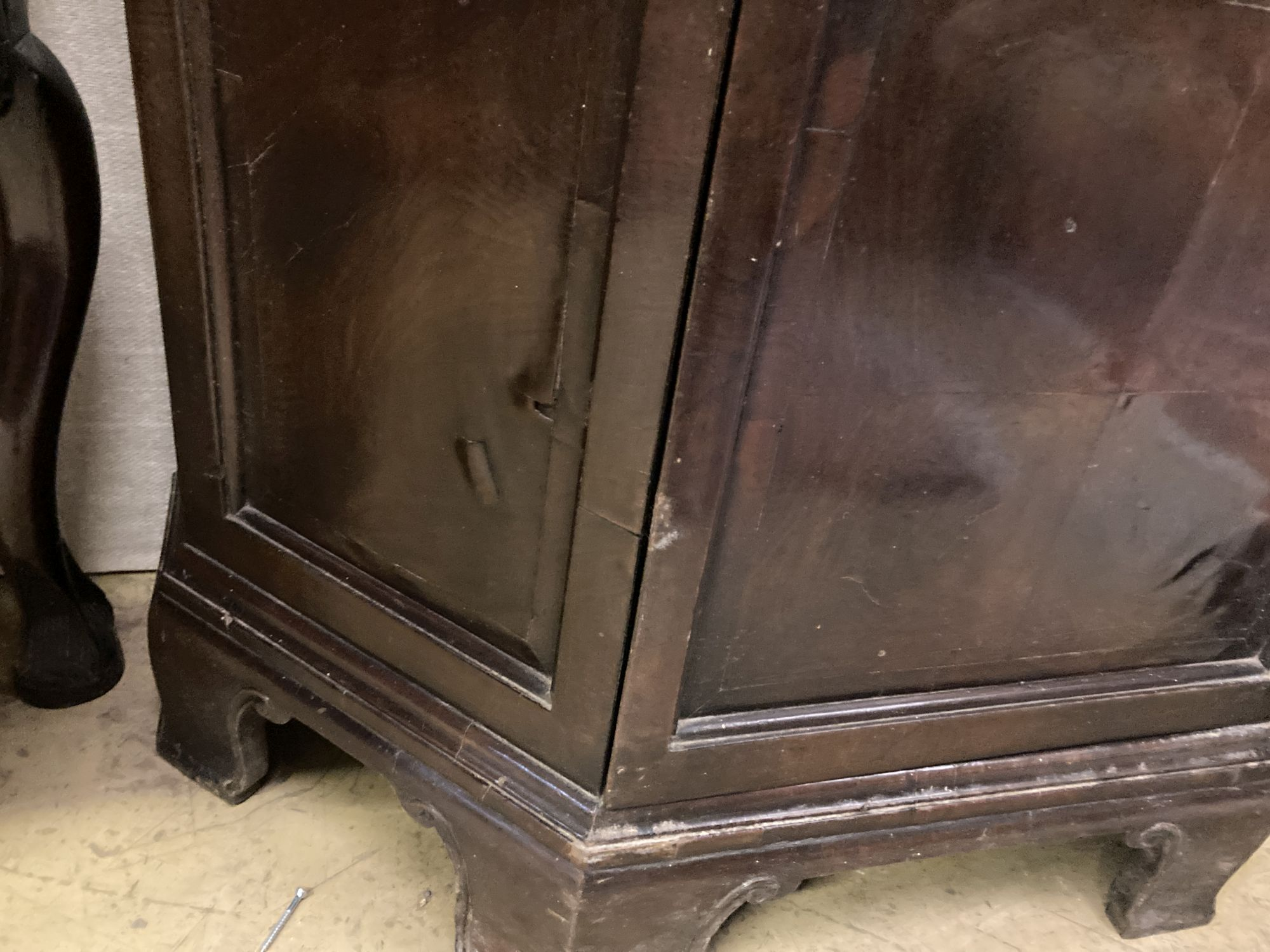 An early 20th century walnut display cabinet, width 78cm depth 30cm height 161cm - Image 4 of 4