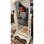 A Victorian style painted cheval mirror, width 77cm, height 164cm