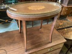 An Edwardian inlaid oval tray top, on later stand, width 70cm depth 46cm height 57cm