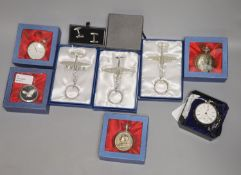 A late Victorian silver-cased pocket watch and sundry items, comprising five boxed modern quartz fob