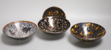 Four Chinese splash glaze bowls, diameter 16cmCONDITION: Good condition.