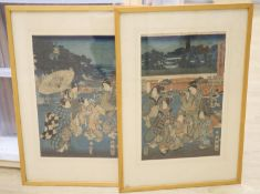 Kunisato, two woodblock prints, Views from famous places in the East Akabane Castle, 37 x 23cm