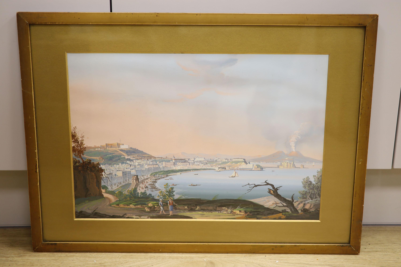 Neapolitan School, gouache, View of the Bay of Naples, bears Thos. Rowbotham signature, 29 x 43cm - Image 2 of 3
