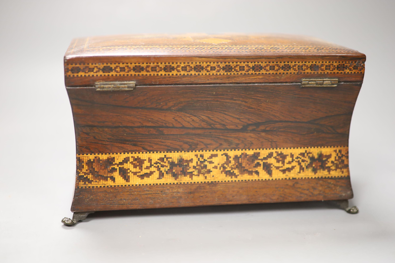 A Regency rosewood and Tunbridge ware inlaid tea caddy, length 22cm (locked) - Image 3 of 3