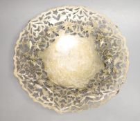 An Egyptian pierced white metal shallow bowl, 27.8cm, 13oz.