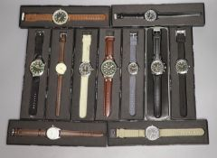 Eleven 'Military' and other modern collectors' watches by Eaglemoss, comprising: two 'Eaglemoss',