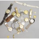A collection of gentlemans' and lady's assorted base metal wrist watches, including Roamer, Timex,