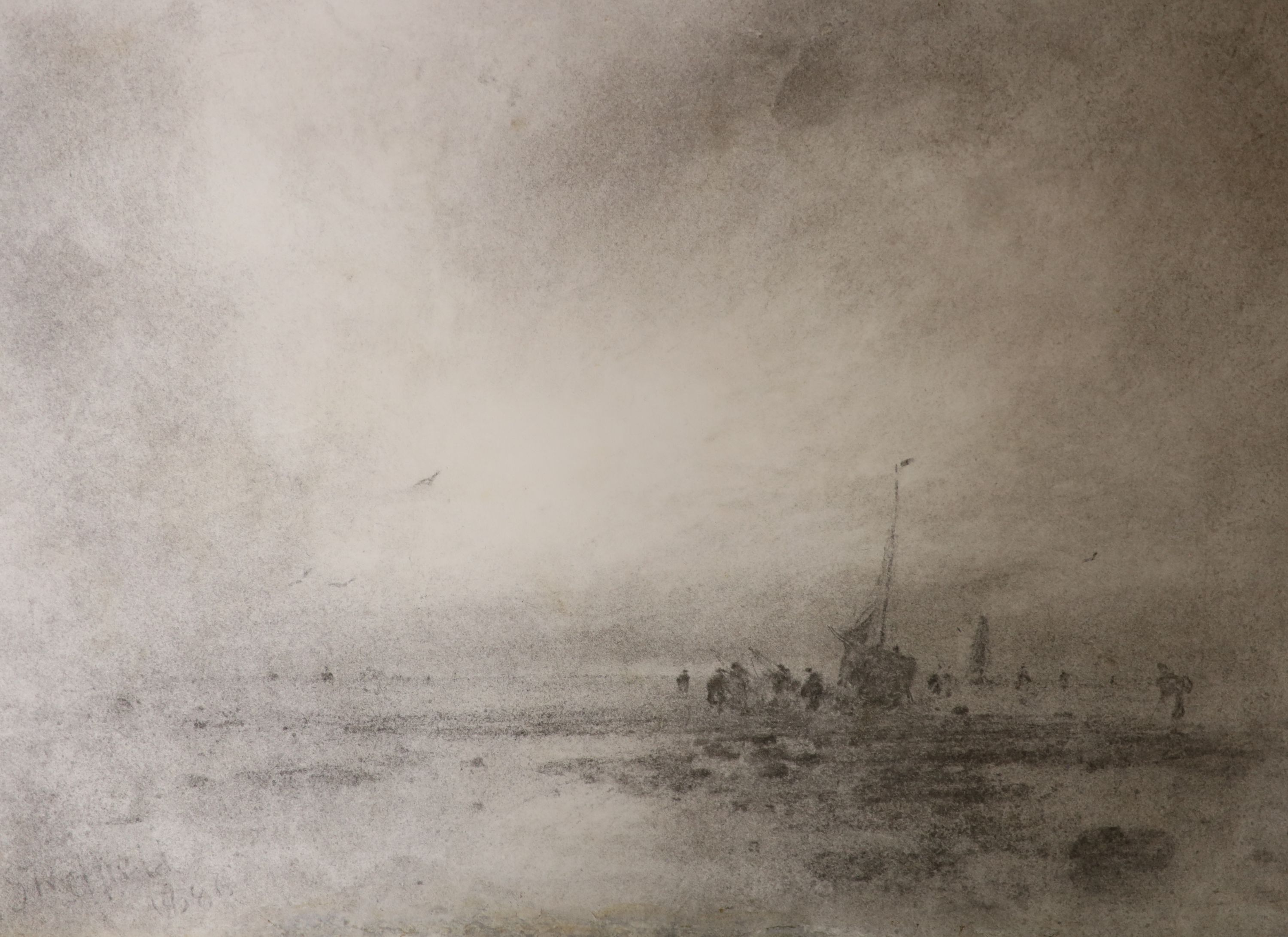 George Sheffield (1839-1892), charcoal on paper, Fisherfolk at low tide, signed and dated 1886, 36 x
