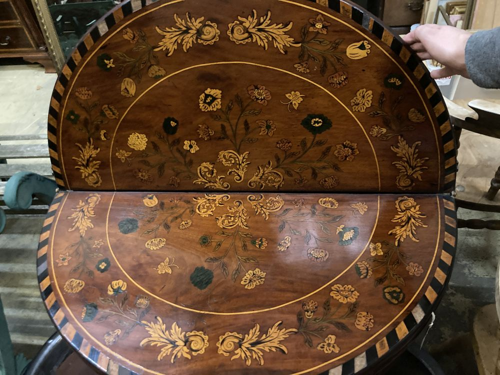 A near pair of 18th century Dutch floral marquetry walnut triple folding tea and card tables, larger - Image 3 of 7