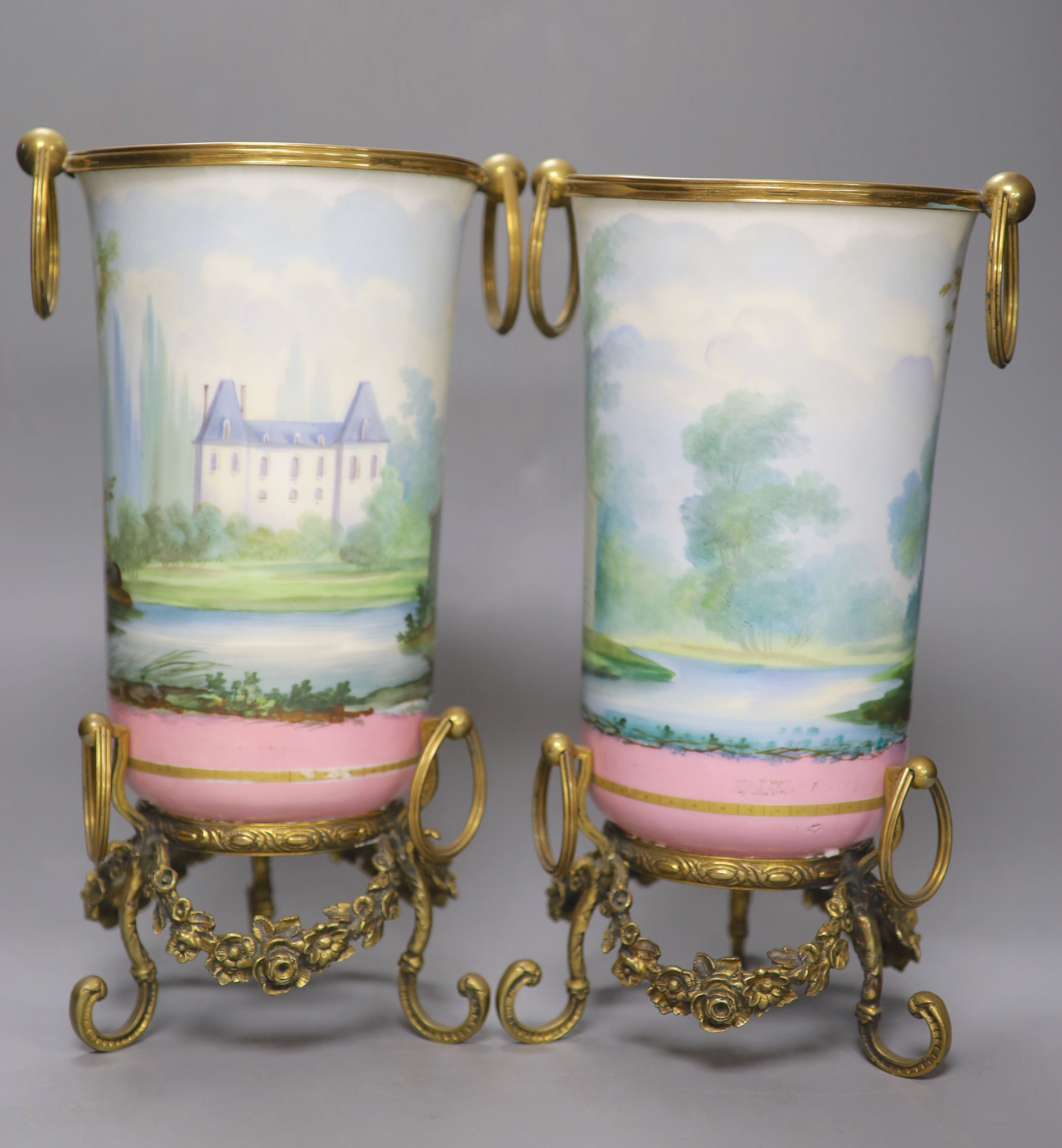 A pair of late 19th century Paris porcelain and gilt metal mounted vases, height 33cmCONDITION: Good - Image 2 of 4