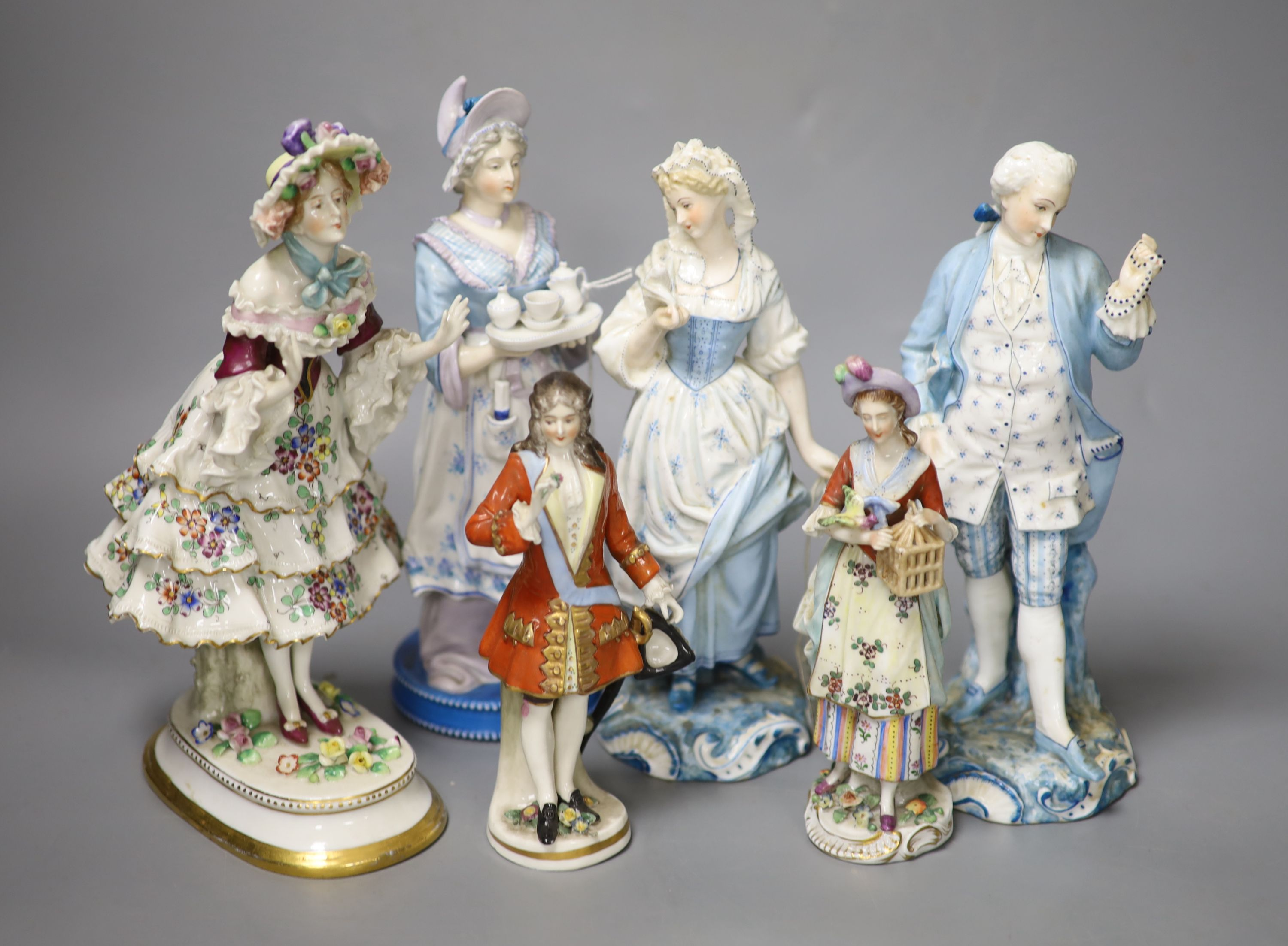 Six Continental porcelain figures, tallest 23cmCONDITION: Tall enamelled female - three of her