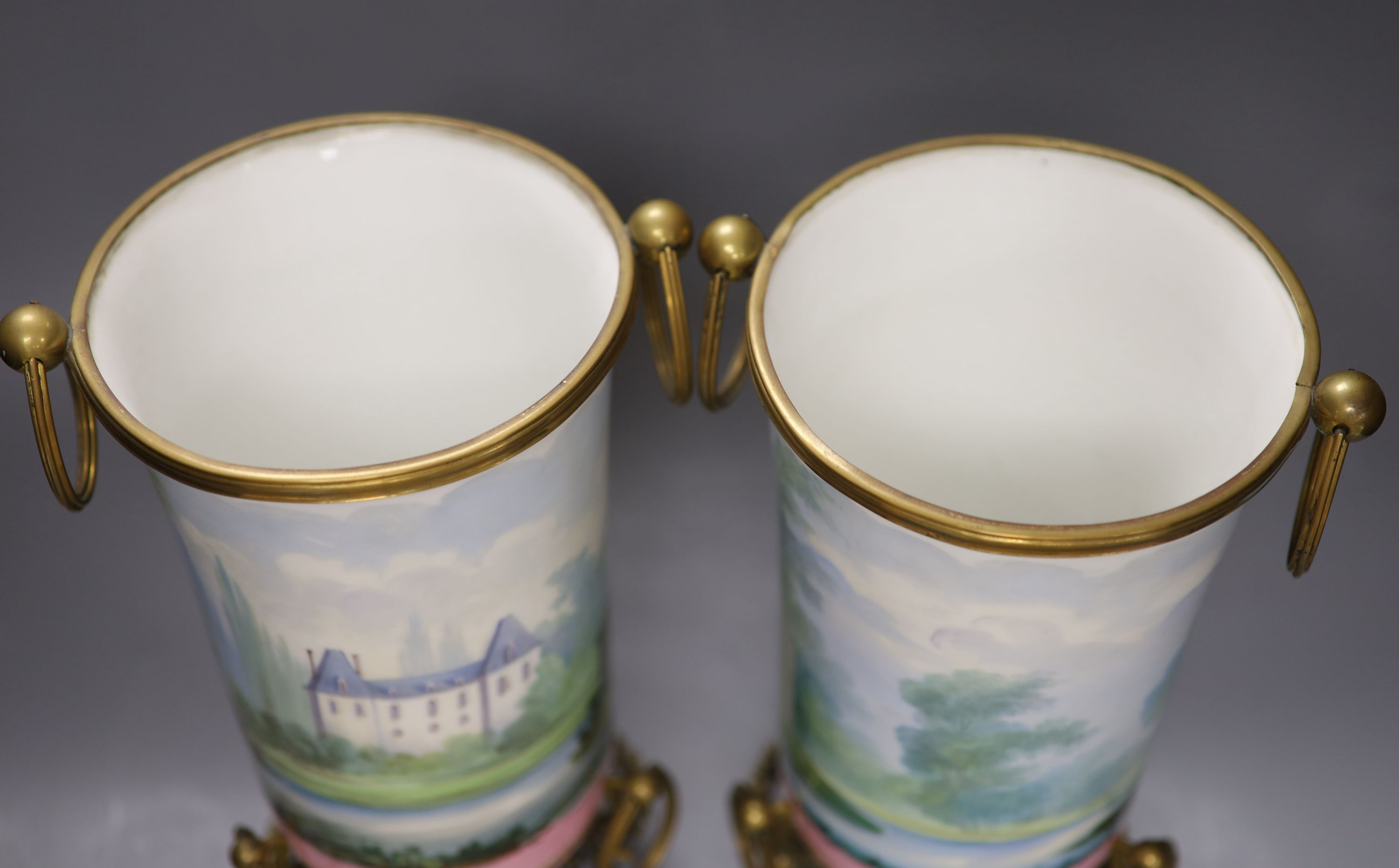 A pair of late 19th century Paris porcelain and gilt metal mounted vases, height 33cmCONDITION: Good - Image 4 of 4