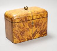 A Regency blond tortoiseshell tea caddy, length 17cm