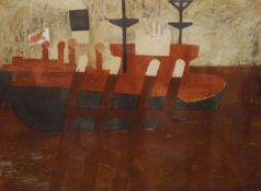 Geoffrey Elliott (1939-), limited edition print, Ship in harbour, signed in pencil, 16/20, 48 x