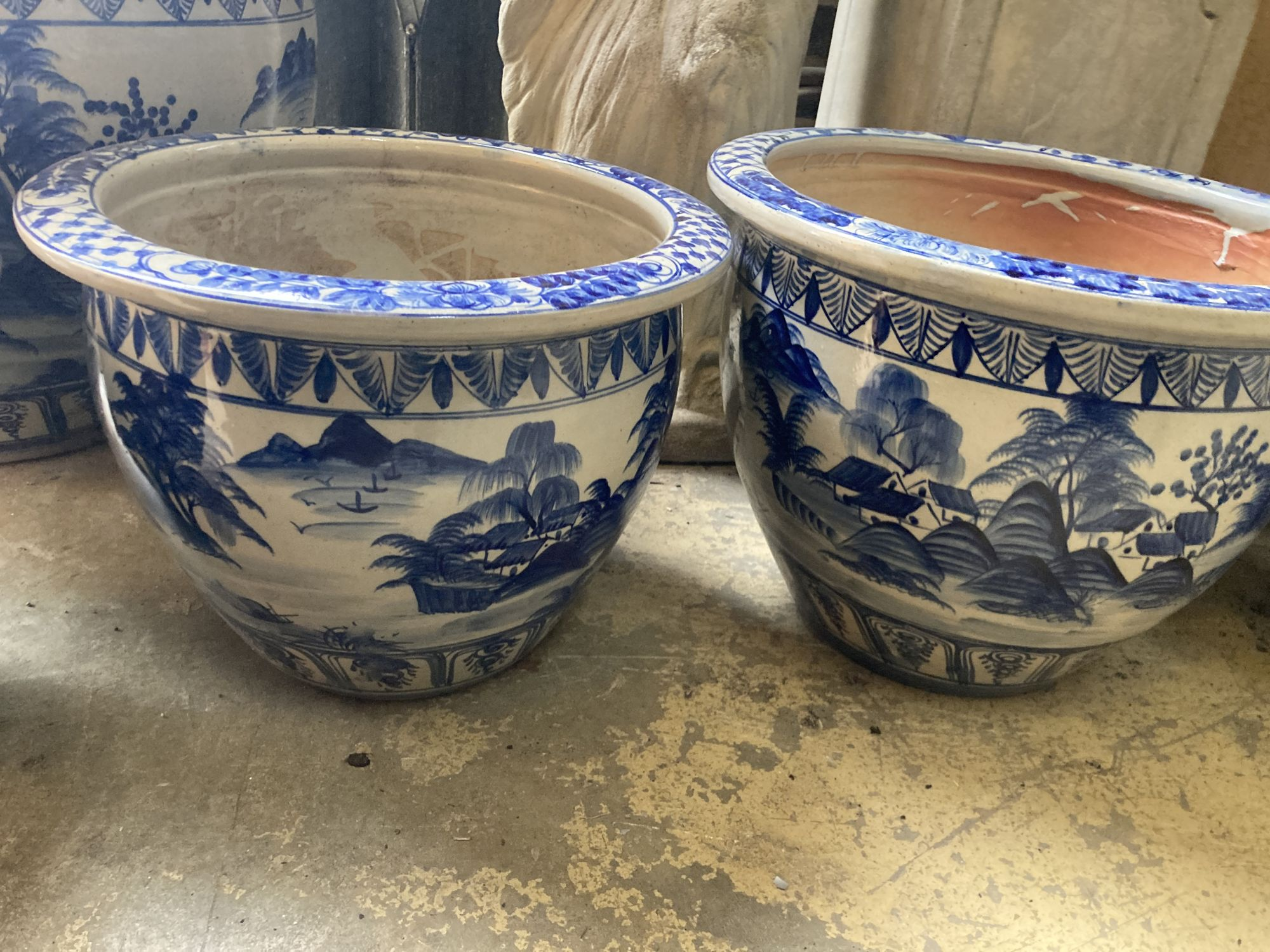 A graduated set of six Chinese style blue and white circular planters, largest width 70cm, height - Image 5 of 6
