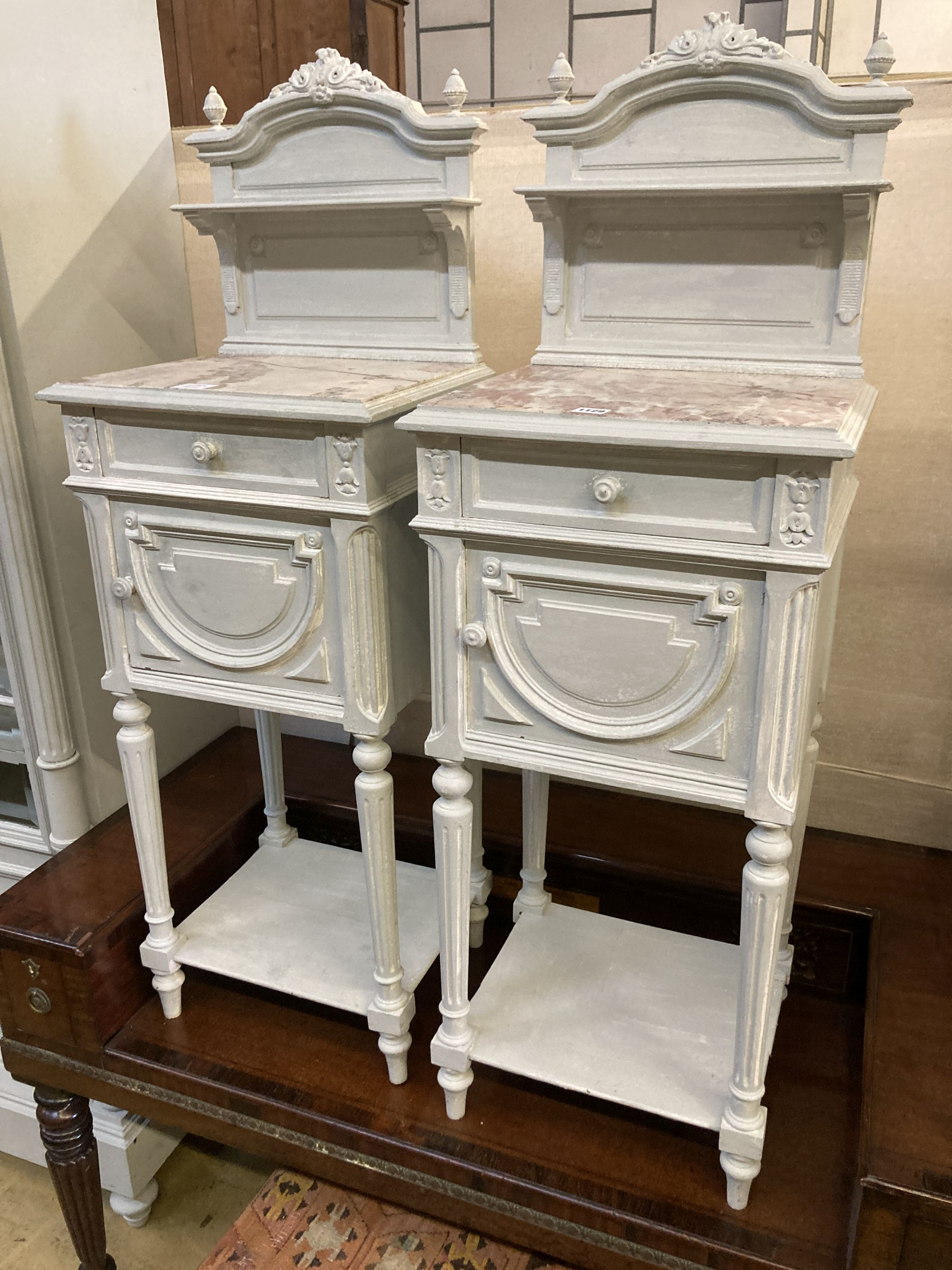 A pair of early 20th century French painted marble top bedside cabinets, width 41cm depth 35cm